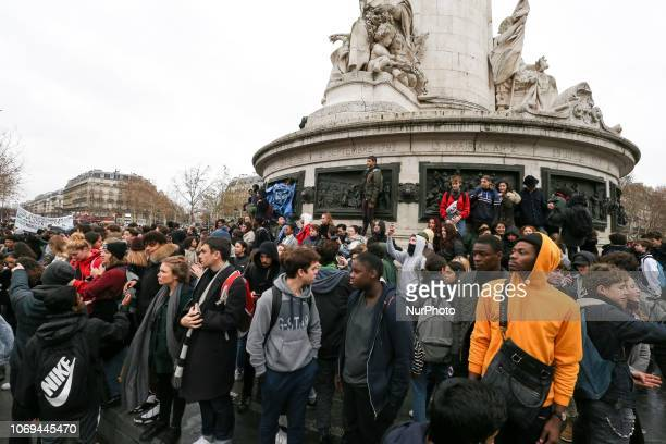 Demonstration of high school students in Place de la République in Paris on December 7 against educational reforms including university selection...