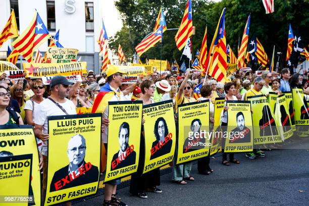 Demonstration of Independence political parties and independence assosiations against the catalan political prisoners and exiled by Spanish judges in...