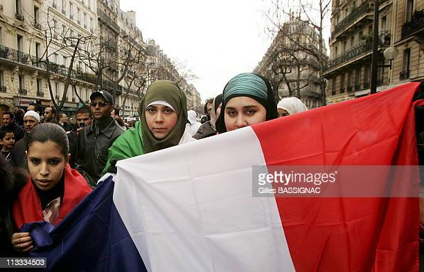 Demonstration Of Muslims In Paris Over Cartoon Images Of The Prophet MohammedFrom Republic Square To Nation Square On February 11Th 2006 In Paris...