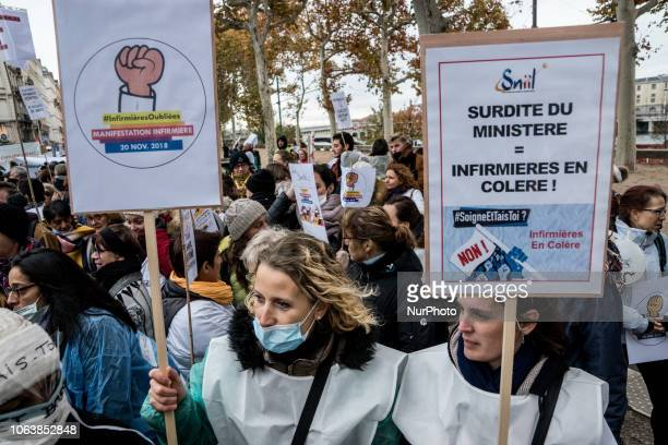 Demonstration of nurses in Lyon France on November 20 to demand more resources and staff recruitment The nurses forced the prefect to receive a...