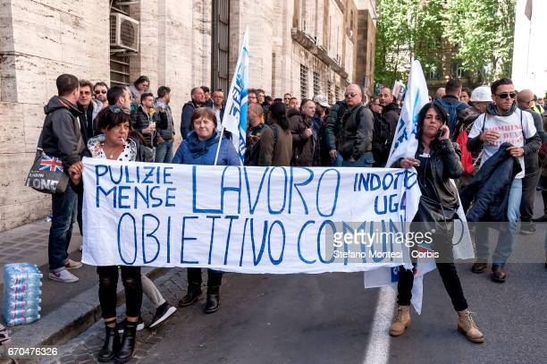 Demonstration of plant workers to Aferpi of Piombino in front of the Ministry of Economic Development asking for a plan to save the jobs and the...