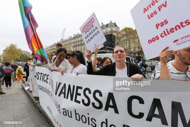Demonstration of sex workers Place de la République in Paris on September 22 in memory of Vanessa Campos a Peruvian transgender woman and sex worker...
