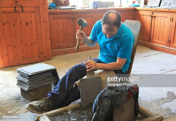 Demonstration of slate working National slate museum Llanberis Gwynedd Snowdonia north Wales UK
