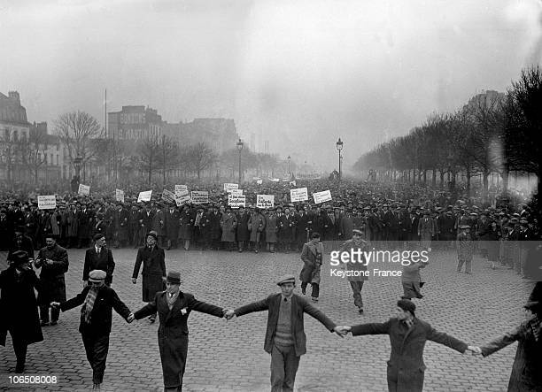 Demonstration Of Socialists And Communists Against The Antiparliamentary Demonstration In Paris Organized By Right And FarRight Groups On February 6...