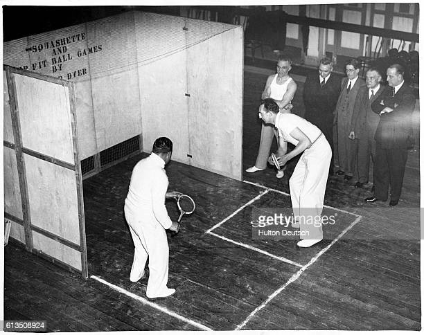A demonstration of 'Squashette' given by George Lyttleton Rogers and Mr W J Collier backing squash available to the masses 1937