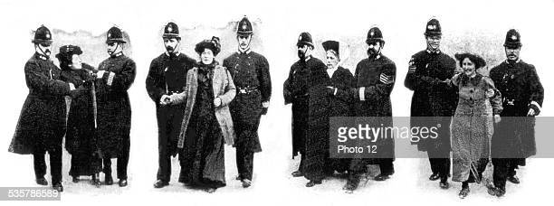Demonstration of suffragettes in London arrest of feminists Great Britain