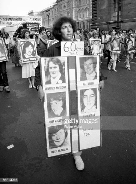 Demonstration of support for the militants of IRA imprisoned in Ulster and making the hunger strike to obtain the statute of political prisoners...