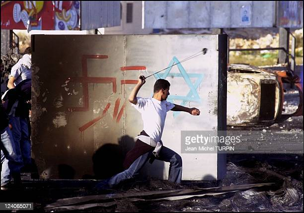 Demonstration of Tanzim and violent clashes between Tanzim Palestinians and the Israeli army after the death of a young Palestinian In Ramallah...