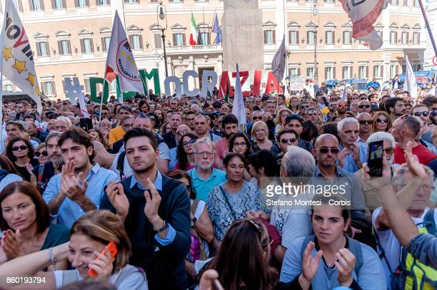 Demonstration of the 5 Star Movement in front of the the lower house of parliament against the government's decision to put a bill for a new...