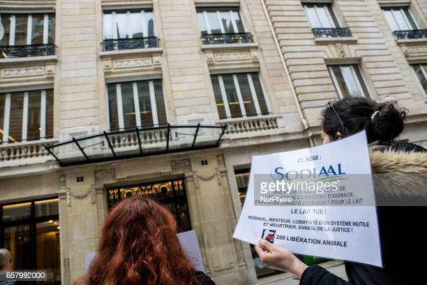 Demonstration of the association quot269 LifeLiberation Animalequot in front of the headquarters of the company Sodiaal to protest against the...
