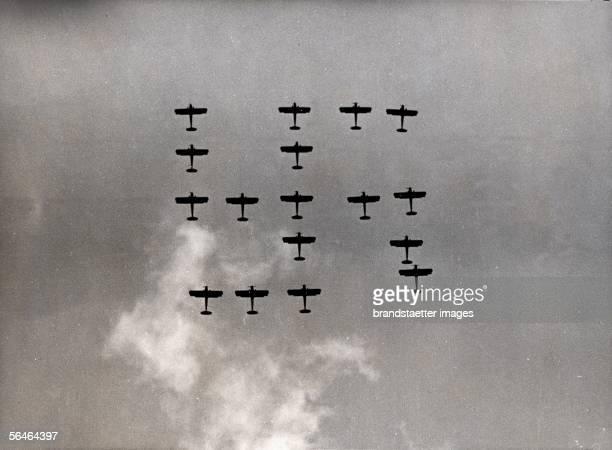 Demonstration of the german airforce at the Reichsparteitag Nuremberg Germany Around 1936 [Vorfuehrung der Luftwaffe am Reichsparteitag Photographie...