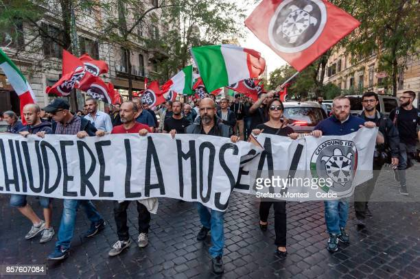 Demonstration of the Italian farright movement Casapound who asks for the closure of a mosque located in Via San Vito at Esquilino district on...