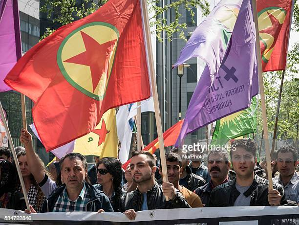 Demonstration of the Kurdish Diaspora in front of the European Council against the decision of the Turkish Parliament to lift the Parliamentary...