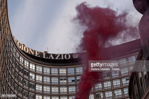 Demonstration of the Movements for the right to housing under the headquarters of the Lazio Region together with the families of evicted and camped...