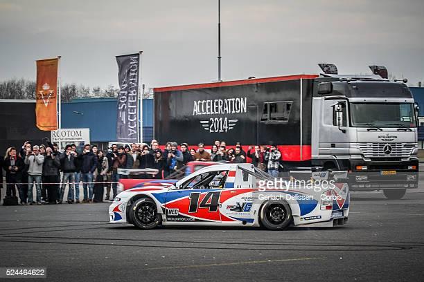 Demonstration of the MW-V6 Pickup race car, taken during the Acceleration 2014 Presentation, Theater Hangaar Valkenburg, The Netherlands, January...