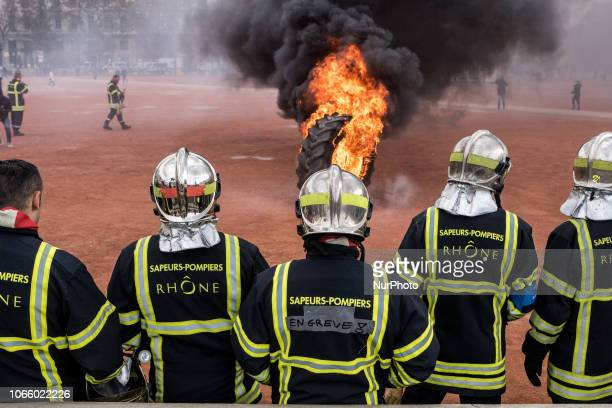 Demonstration of the Rhône fire brigade in Lyon France to demand more resources and manpower to carry out their missions on 27 November 2018 The...