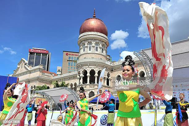 A demonstration of the traditional dances at the end of the fifth stage of the Tour de Langkawi 2016 the 1488km from Tapah to Kuala Lumpur Kuala...