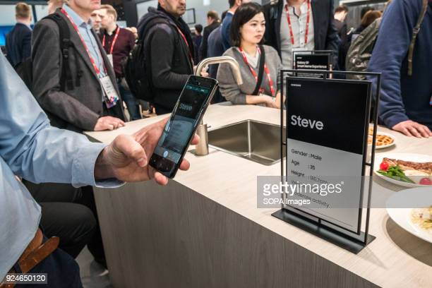 Demonstration of the translation of texts of the new Samsung Galaxy S9 at Mobile World Congress The Mobile World Congress held in Barcelona Spain...
