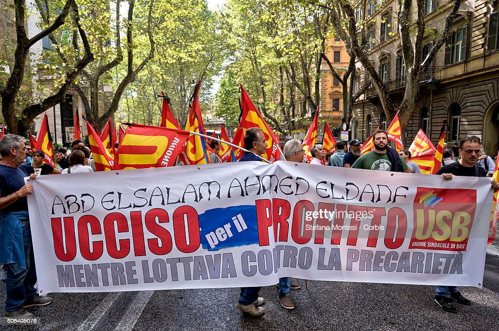USB union protest against the killing of a worker in Rome : News Photo