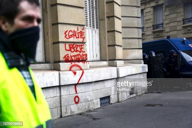 Demonstration of Yellow vests against rising costs of living on the Champs Elysées and place de la Bastille in Paris on December 8 2018 Paris was on...