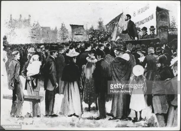 Demonstration on Eelbrook Common Fulham London during the engineering dispute From the Illustrated London News 16th October 1897