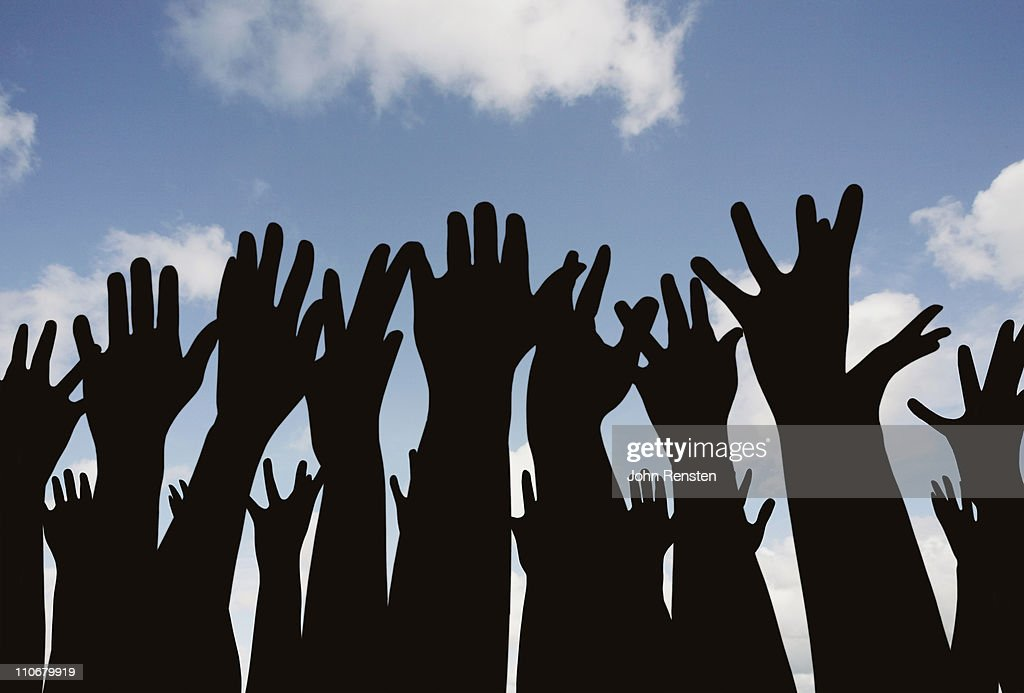demonstration or festival? hands in the air : Stock Photo