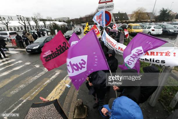 Demonstration organized by the Hospital Employees Union in front of the Poissy Medical Center near Paris on January 15 2018 for the laying of the...