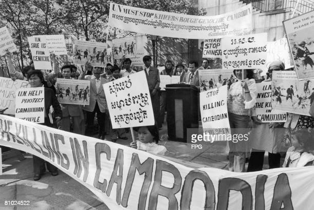 A demonstration outside the UN headquarters in New York City against the genocide in Cambodia perpetrated by the Khmer Rouge circa 1975