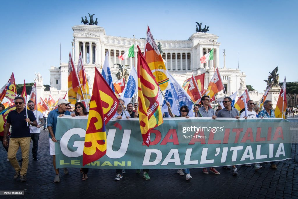 Demonstration to protest against job and salary cuts at the