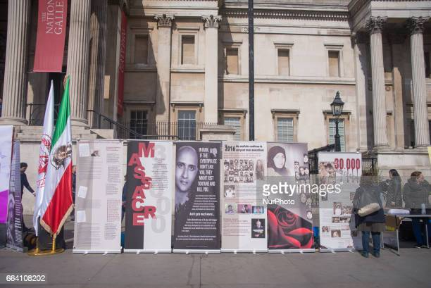 Demonstration to remember the '1988 executions of political prisoners in Iran' is pictured in Trafalgar Square London on April 3 2017 1988 executions...