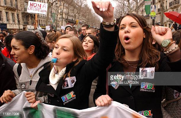 DemonstrationBy High School StudentsAgainstTheFillonReform On February 10Th 2005 In Paris France