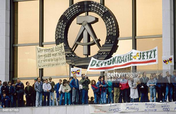 Demonstrations in East Germany 1989 Ca one million people demonstrating in the center of East Berlin for political changes photo demonstrators with...