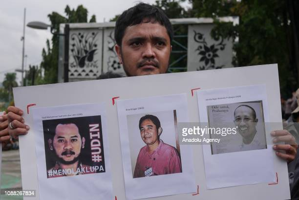 Demonstrations protest against the remission for journalists murderer in Jakarta Indonesia on January 25 2019 Presidential Decree Number 29/2018...