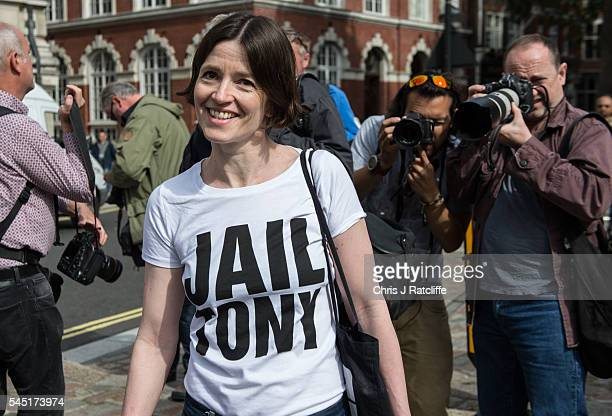 Demonstrator arrives outside the Queen Elizabeth II conference centre with a 'Jail Tony' t-shirt on July 6, 2016 in London, England. The Iraq Inquiry...