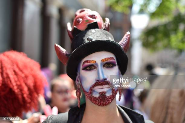 Demonstrator attends the Drag Protest Parade LGBTQi March against Trump on July 13 2018 in London United Kingdom Drag queens hold a mass rally in...