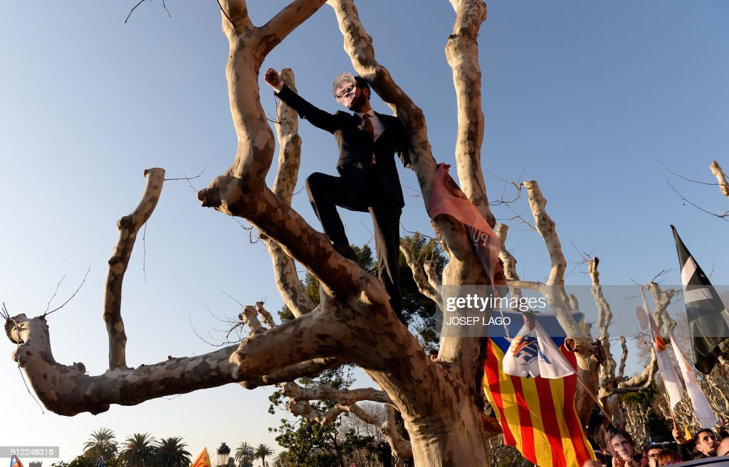 TOPSHOT - A demonstrator covers his face with a mask depicting ousted separatist leader Carles Puigdemont after climbing a tree during a demonstration outside the Catalan parliament on January 30, 2018 in Barcelona. The speaker of Catalonia's parliament Roger Torrent delayed a key debate in the regional assembly on ousted separatist leader Carles Puigdemont's bid to form a new government, but defended his right to return to power. / AFP PHOTO / Josep LAGO