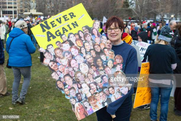 A demonstrator displays her sign during the March For Our Lives Rally on March 24 at the Connecticut State Capitol in Hartford CT
