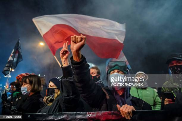 Demonstrator gestures as people take part in a pro-choice protest in the center of Warsaw, on January 27 as part of a nationwide wave of protests...