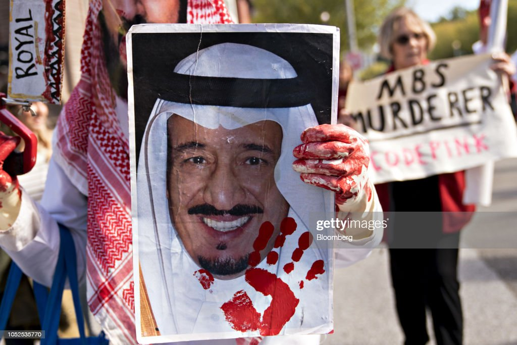 Demonstrators March To Protest The Disappearance Of Journalist Jamal Khashoggi : News Photo