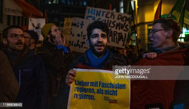 Better to govern with Fascists than not govern at all during a protest outside the headquaters of the Free Democratic Party in Berlin on February 5...