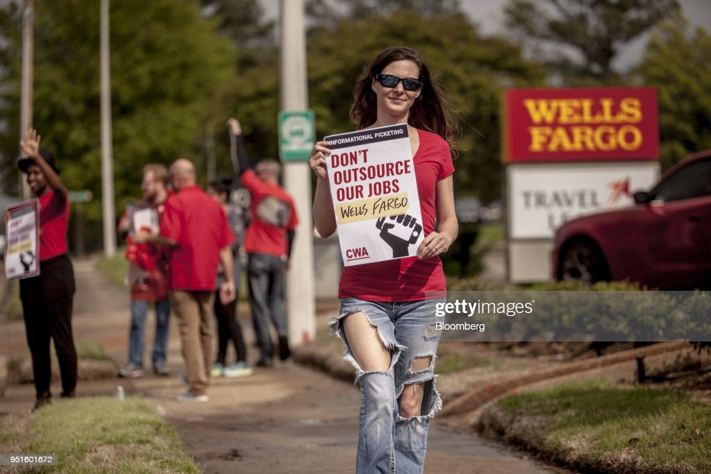 Demonstrators Protest Against Wells Fargo & Co. Plans To Offshore Thousands Of Jobs
