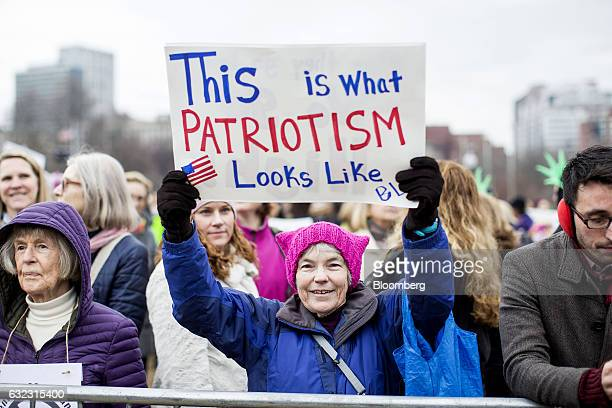 A demonstrator holds a sign during the Boston Women's March in Boston Massachusetts US on Saturday Jan 21 2017 Hundreds of demonstrations around the...