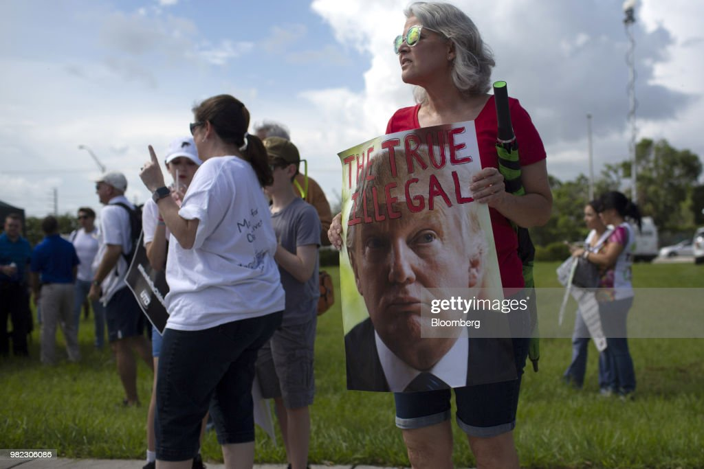 Demonstrators Attend Rally At Homestead Temporary Shelter For Unaccompanied Children