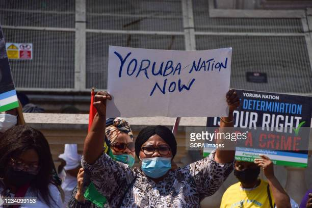 Demonstrator holds a 'Yoruba Nation Now' placard during the Yoruba Nation protest. Nigeria's Yoruba Nation supporters gathered outside Downing Street...