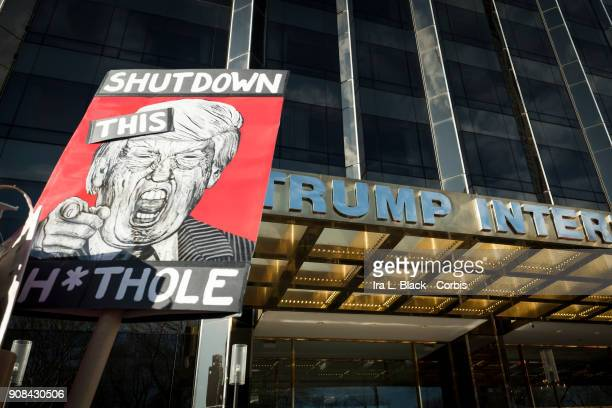 A demonstrator holds up a banner saying 'Shutdown this shithole' while another has a banner saying 'Obama Very Stable Genius Trump Pussy Grabber' in...