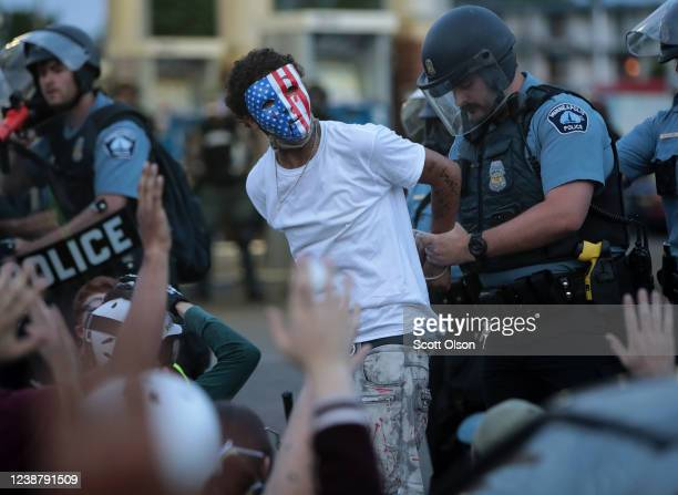 A demonstrator is arressted during a protest against police brutality and the death of George Floyd on May 31 2020 in Minneapolis Minnesota Protests...