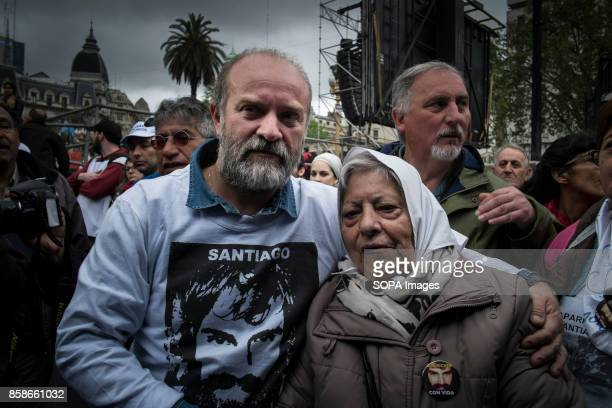 A demonstrator is seen gathering to protest against the disappearance of Santiago Maldonado since 1 August 2017 while wearing a clothes with the...
