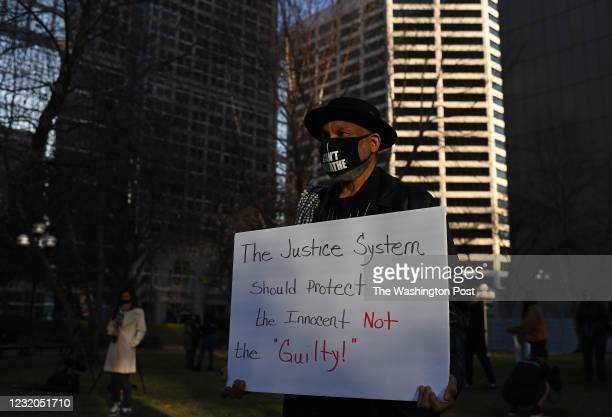 Demonstrator protest outside the Hennepin County Government Center on March 29, 2021 in Minneapolis, Minnesota. Today opening statements start in the...