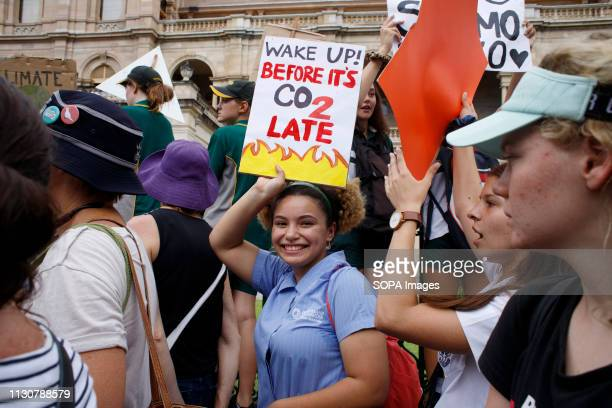HOUSE BRISBANE QUEENSLAND AUSTRALIA A demonstrator seen holding a placard during the protest School and university students teachers parents and...