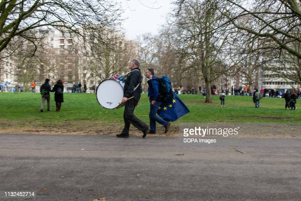 A demonstrator seen with a drum during the protest Over one million protesters gathered at the People's Rally in London demanding a second vote in...